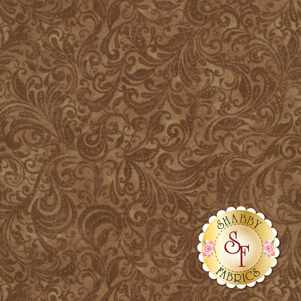 Brown tonal scroll design | Shabby Fabrics