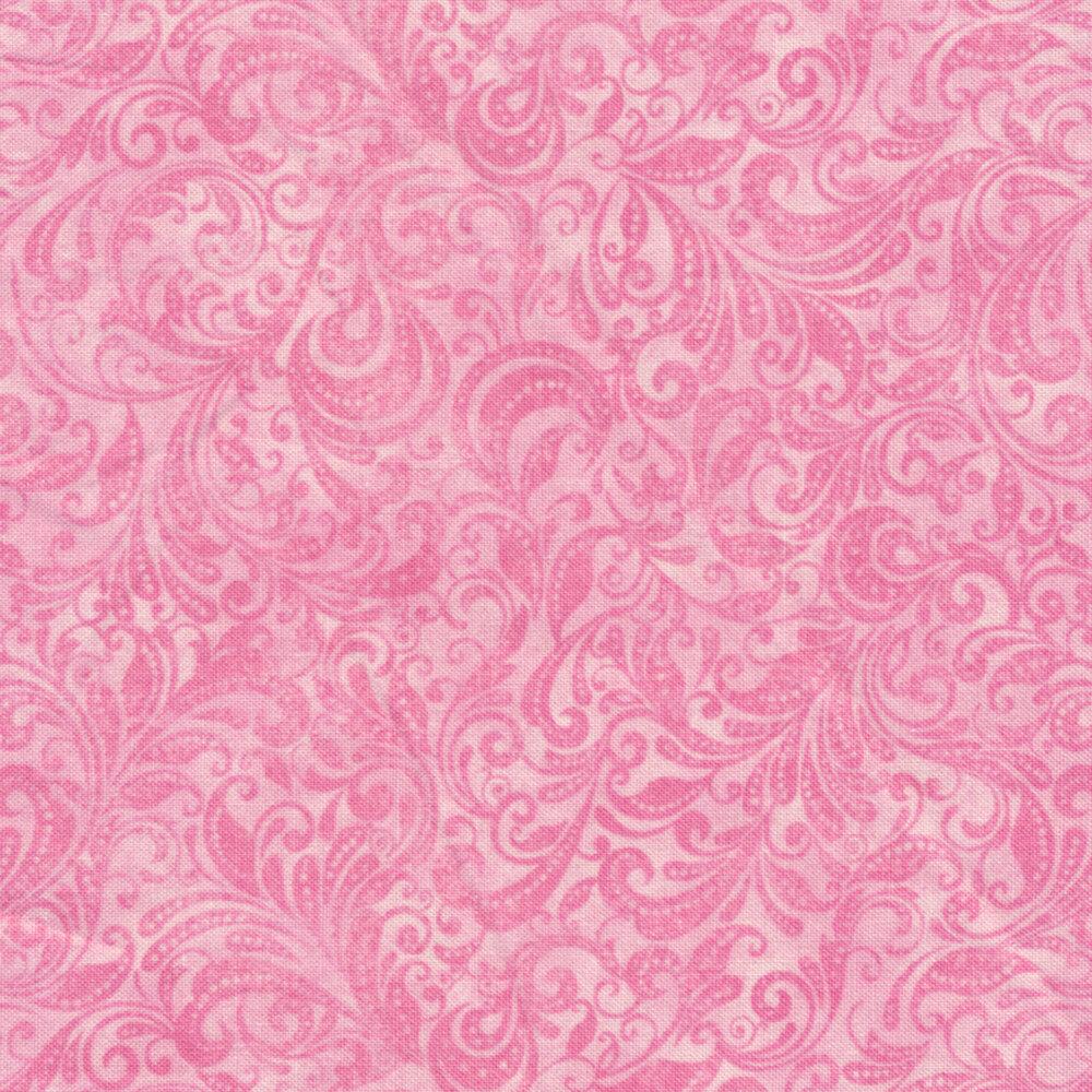 Pink tonal scroll design | Shabby Fabrics