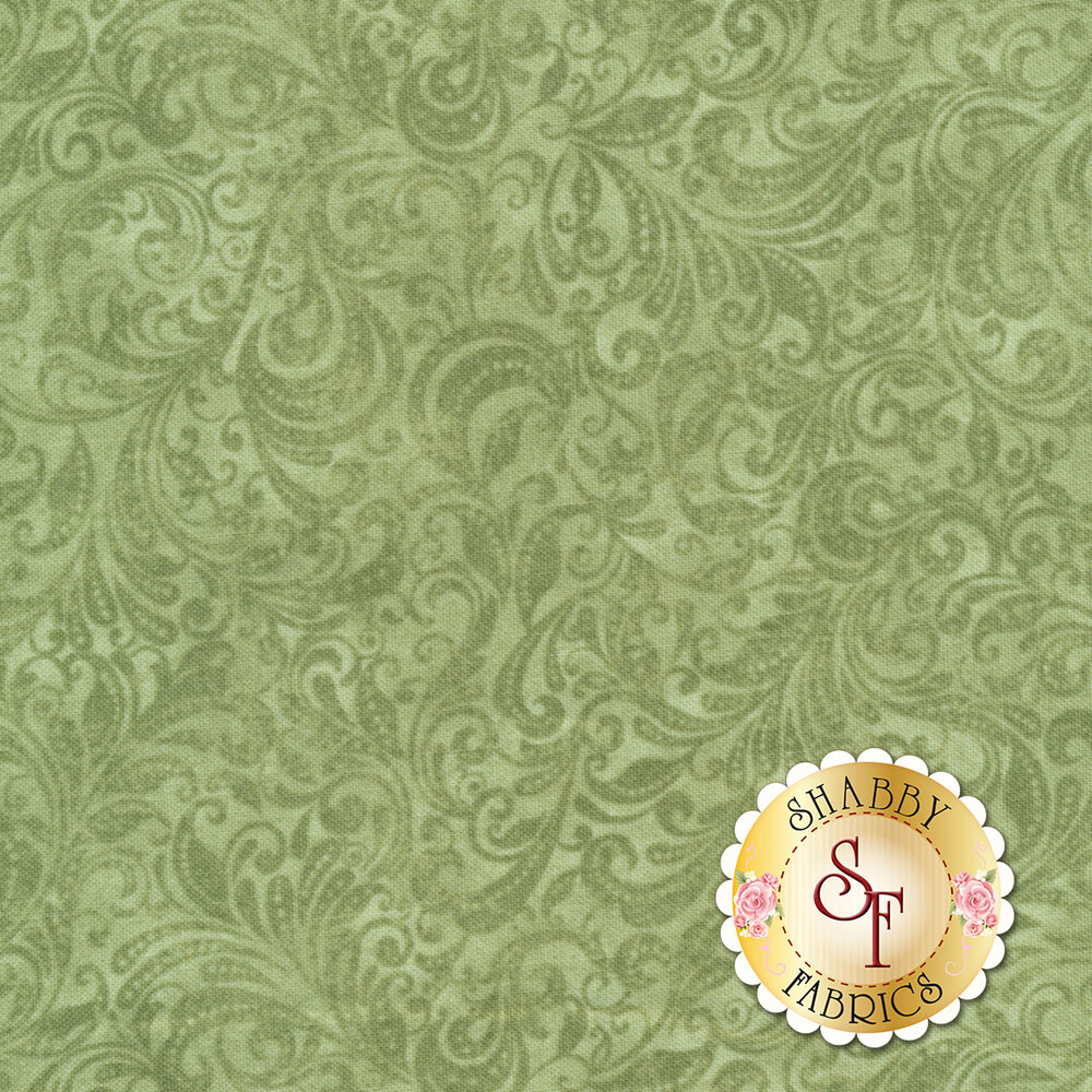 Sage green tonal scroll design | Shabby Fabrics