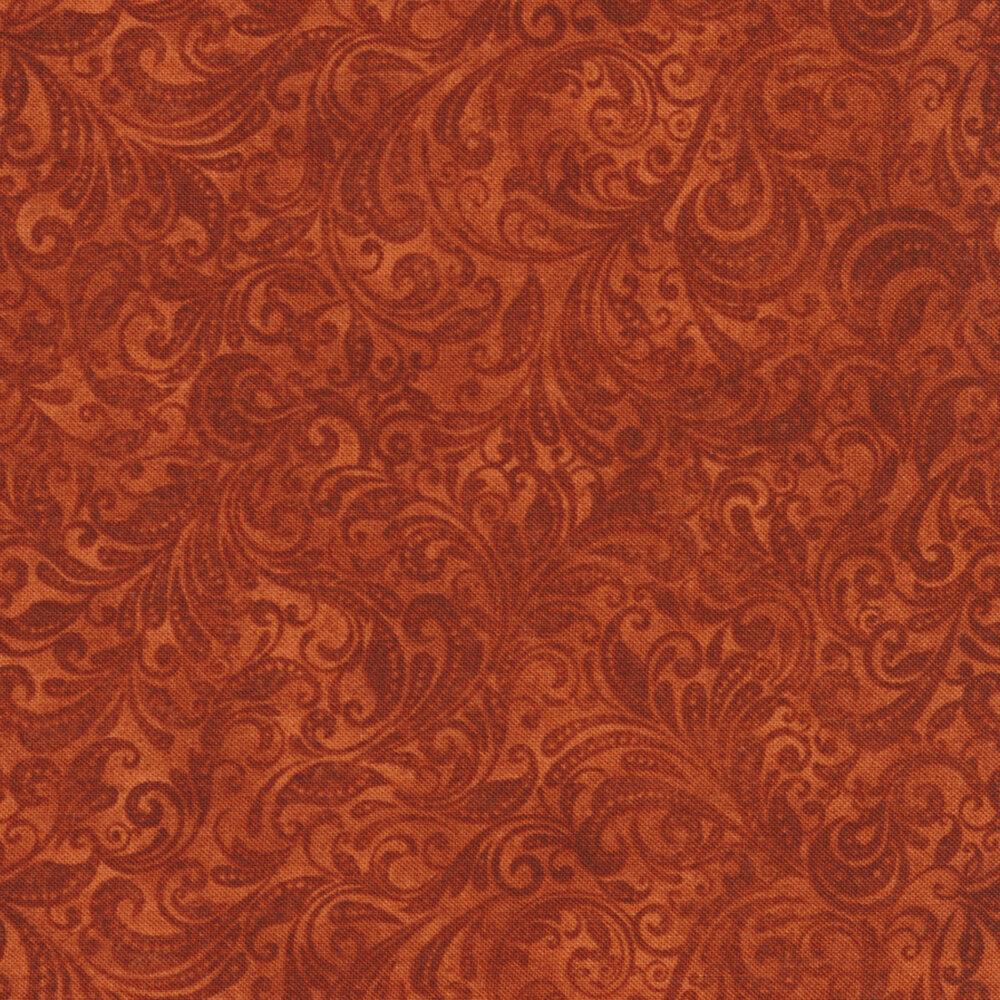 Rust orange tonal scroll design | Shabby Fabrics