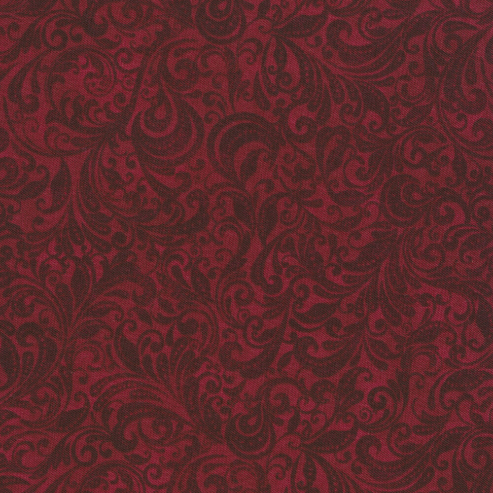 Maroon tonal scroll design | Shabby Fabrics