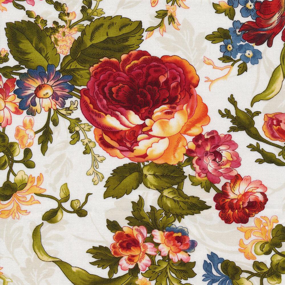 Florals all over tonal cream   Shabby Fabrics