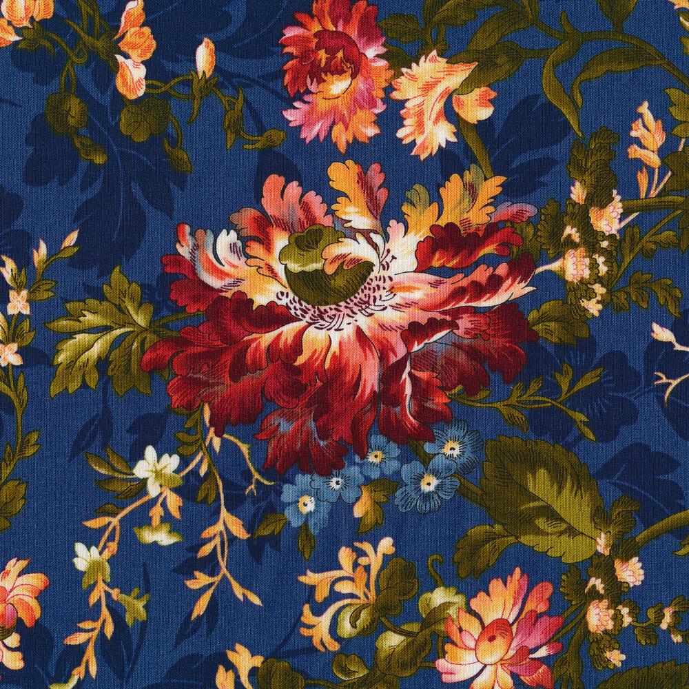 Florals all over tonal navy | Shabby Fabrics