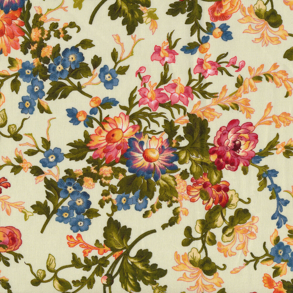 Florals all over green | Shabby Fabrics