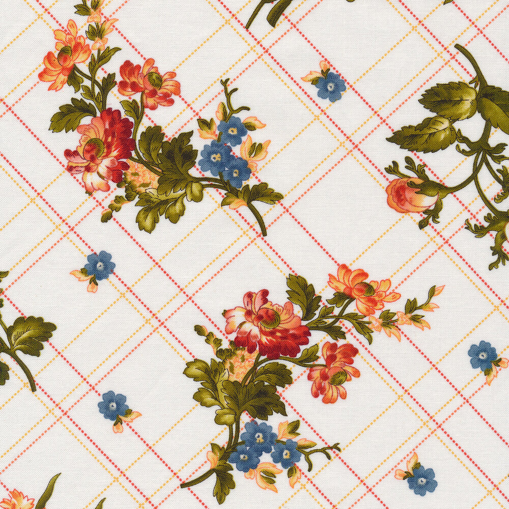 Florals all over plaid on white | Shabby Fabrics