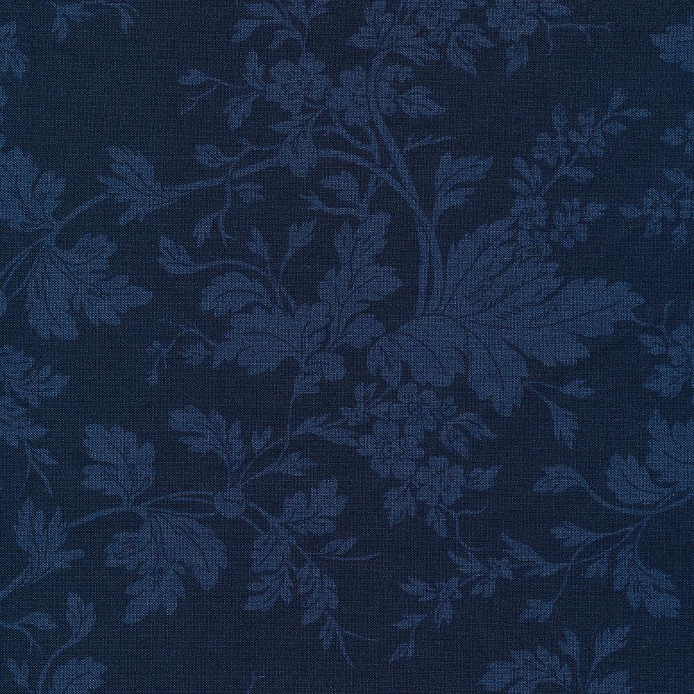 Tonal navy floral   Shabby Fabrics