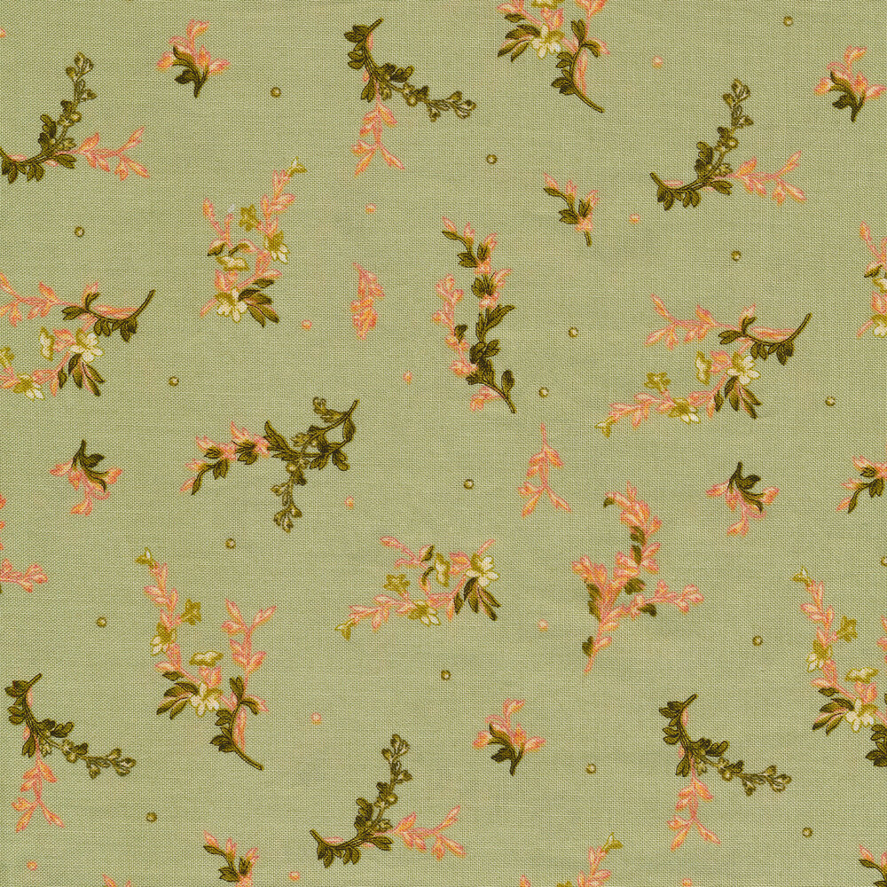 Tossed floral all over green | Shabby Fabrics