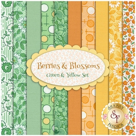 Berries & Blossoms  10 FQ Set - Green & Yellow Set by Kim's Cause for Maywood Studio