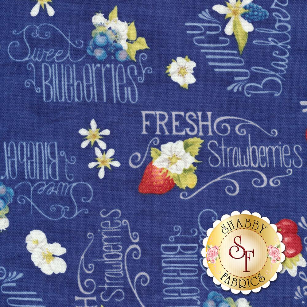 Berry Sweet 13003-431 Berries & Word Toss Dark Blue for Wilmington