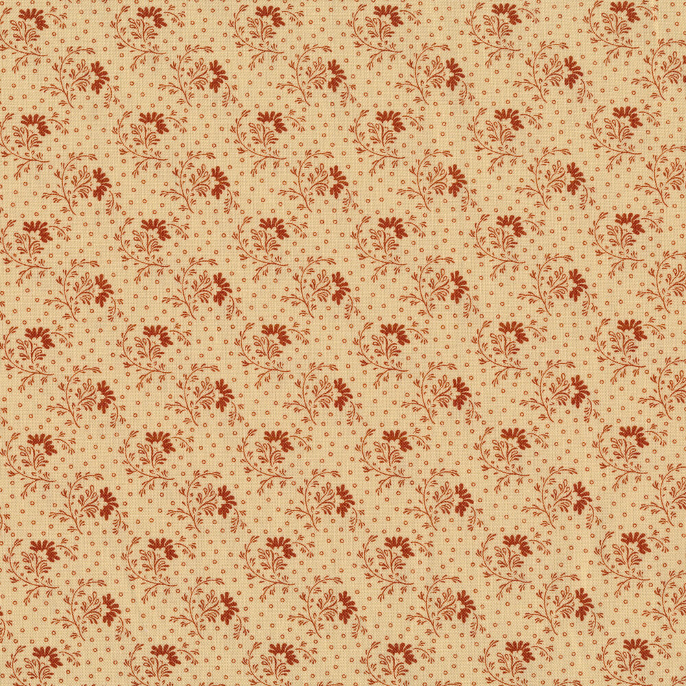 Classic elegant flowers and small circles all over a tan background | Shabby Fabrics