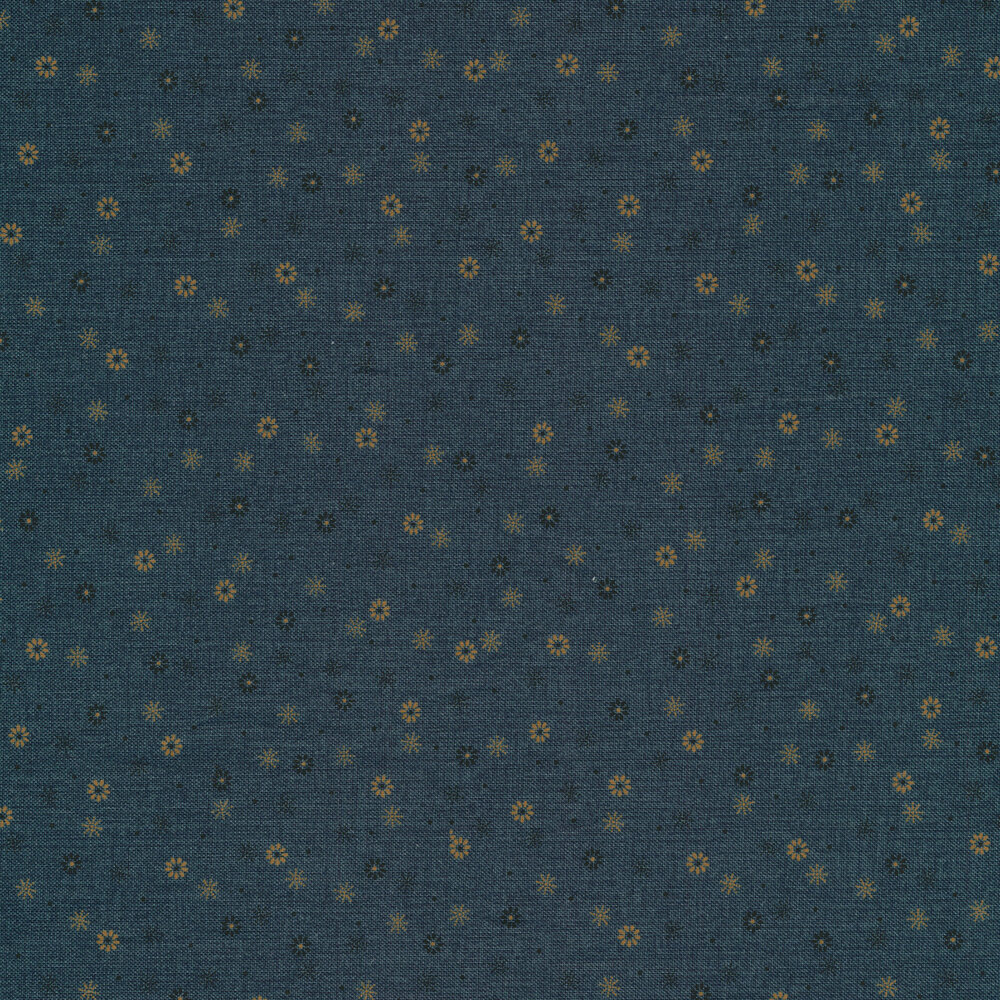 Small tan and black flowers and star bursts on a textured blue background | Shabby Fabrics