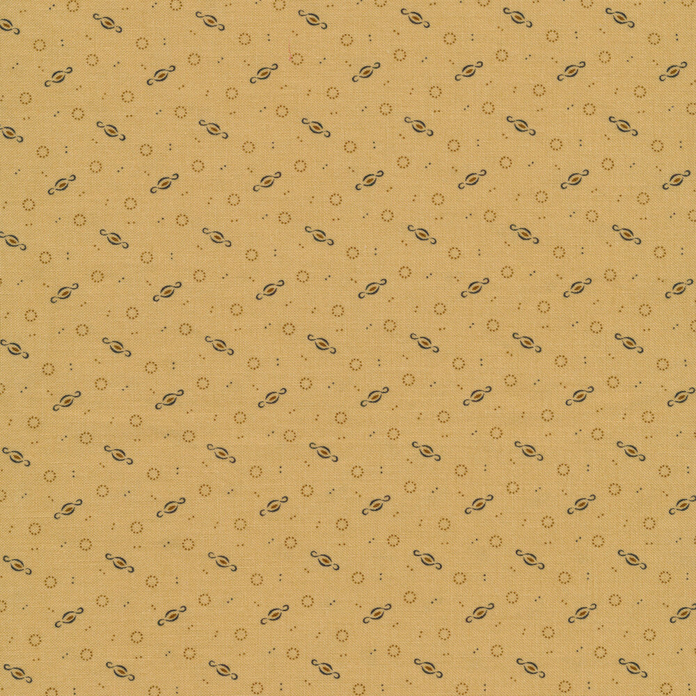 Small dots, circles, and connected loops on a tan background | Shabby Fabrics