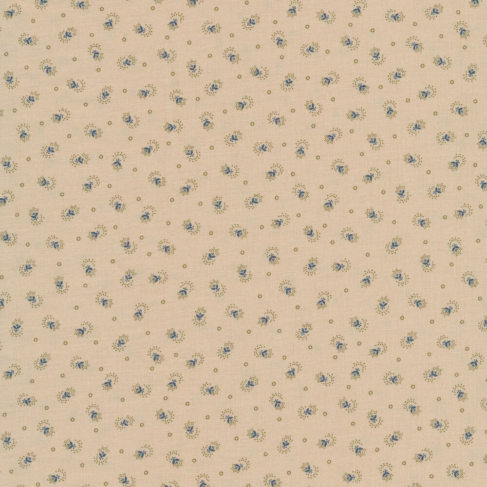 Tossed dotted flowers and small circles on a tan background | Shabby Fabrics