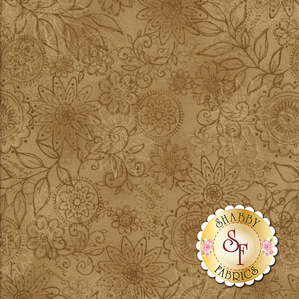 Best of Days 2450-37 is a beautiful tan floral fabric by Henry Glass Fabrics