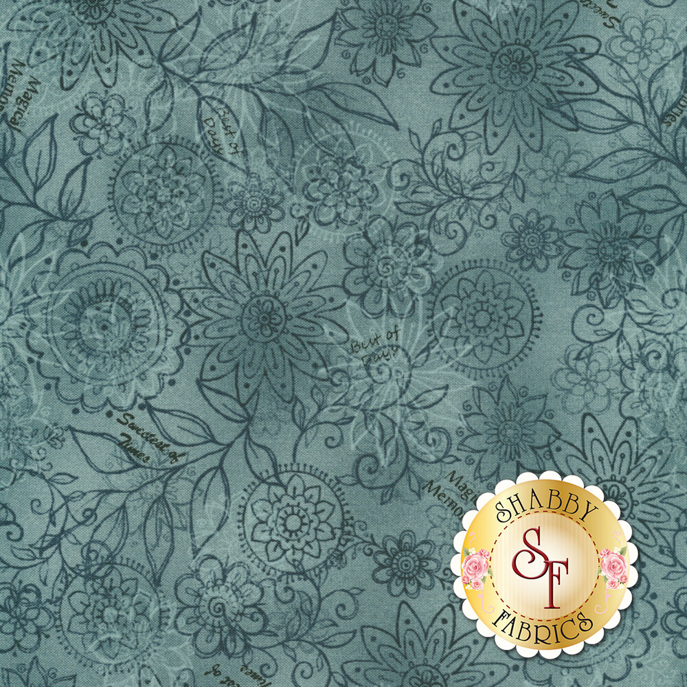 Best of Days 2450-77 is a beautiful blue floral fabric by Henry Glass Fabrics