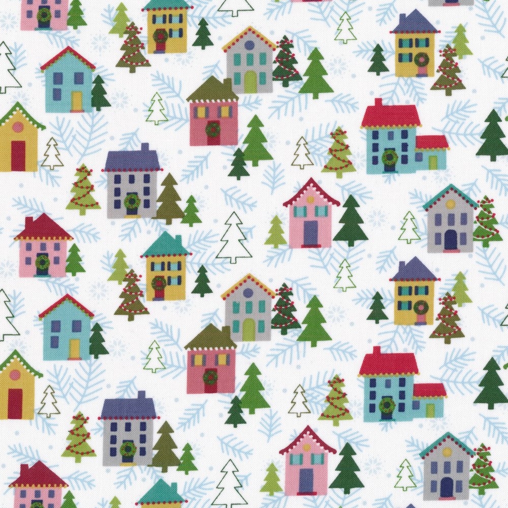 Cute Christmas houses and trees on a white background | Shabby Fabrics