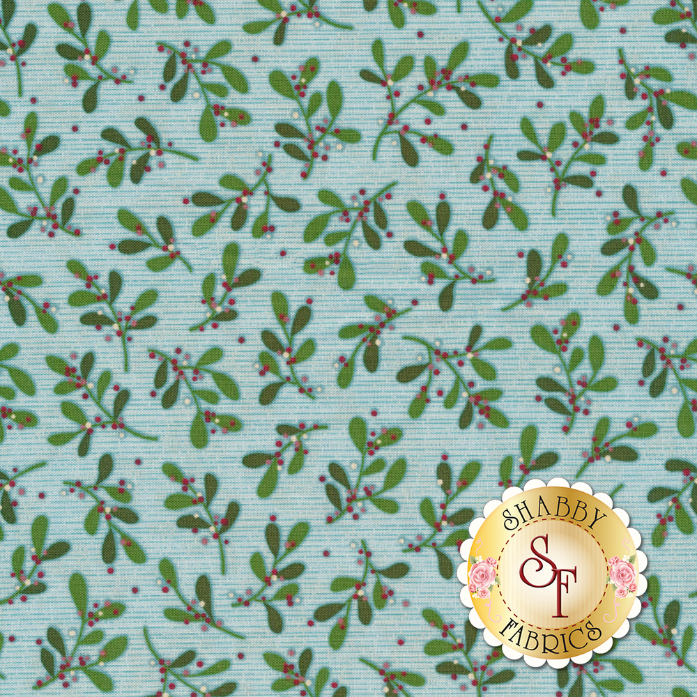 Tossed mistletoe on an aqua background with small teal stripes | Shabby Fabrics