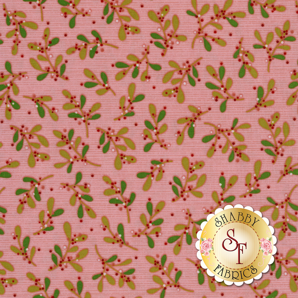 Tossed mistletoe on a pink background with small darker pink stripes | Shabby Fabrics