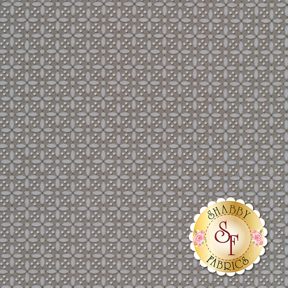 Grey crosses on a dark grey background with small white dots | Shabby Fabrics