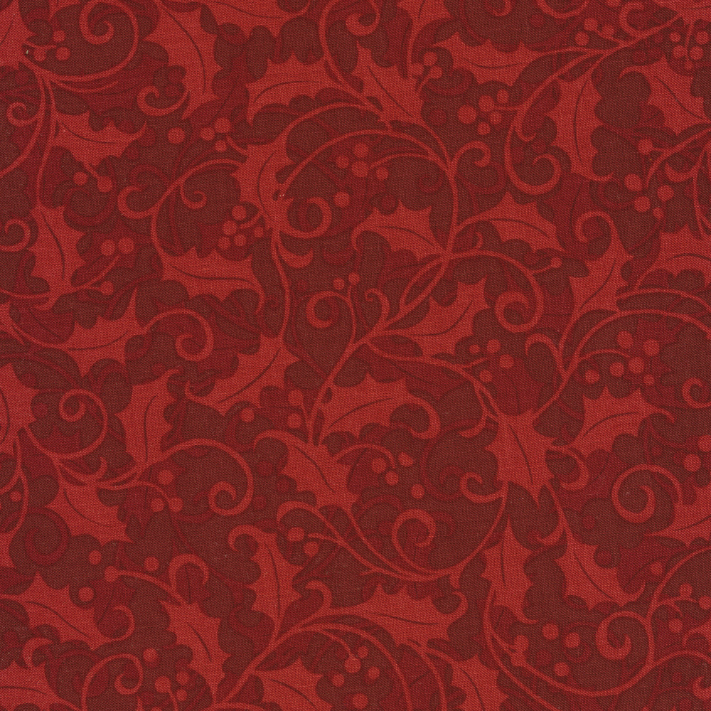 Tonal red swirls and holly on a dark red background | Shabby Fabrics