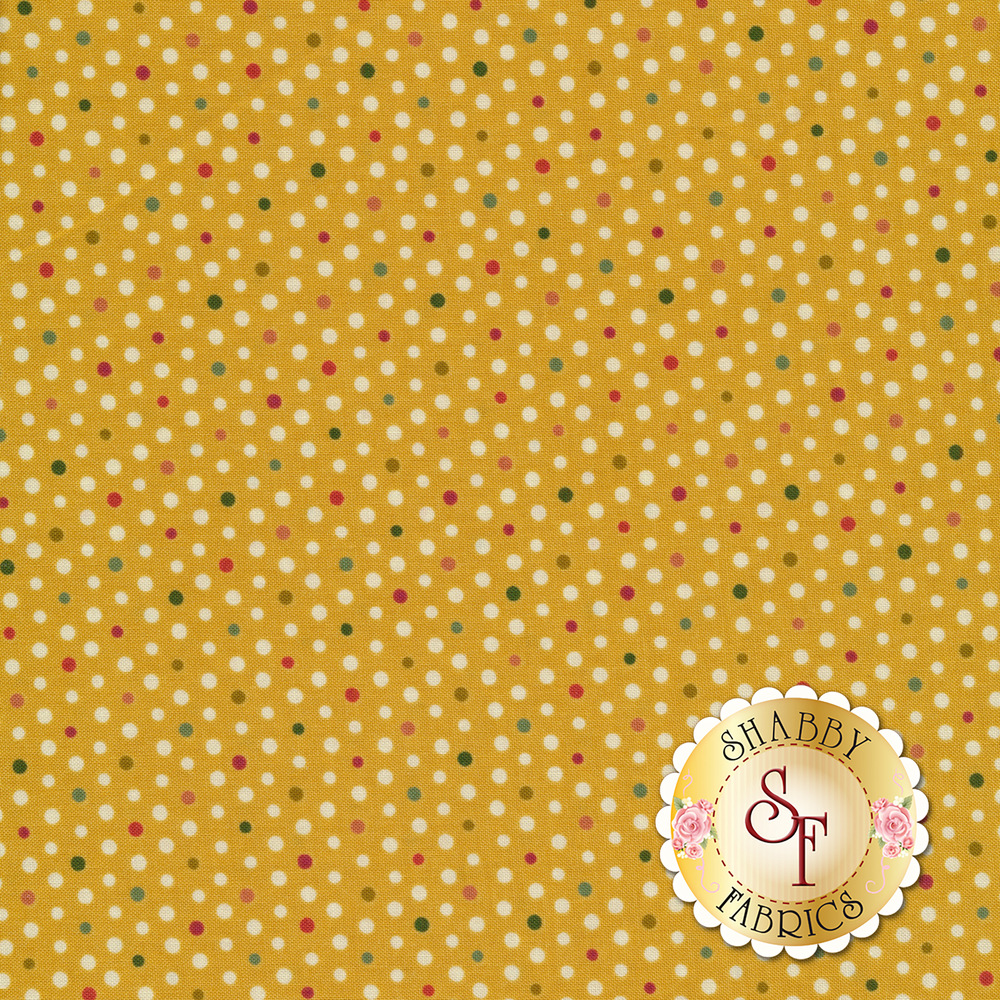 Small multi color polka dots on a gold background | Shabby Fabrics