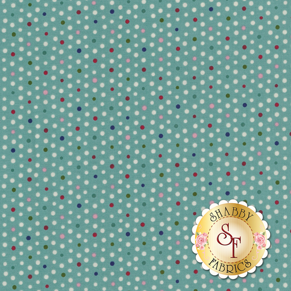 Small multi color polka dots on a teal background   Shabby Fabrics