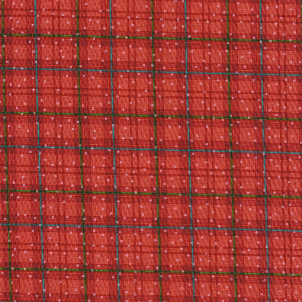 Red plaid fabric with small white dots all over | Shabby Fabrics