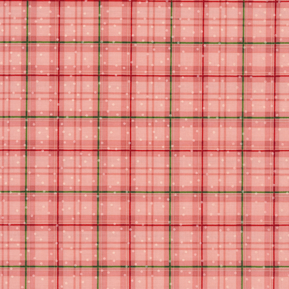 Pink plaid fabric with small white dots all over | Shabby Fabrics