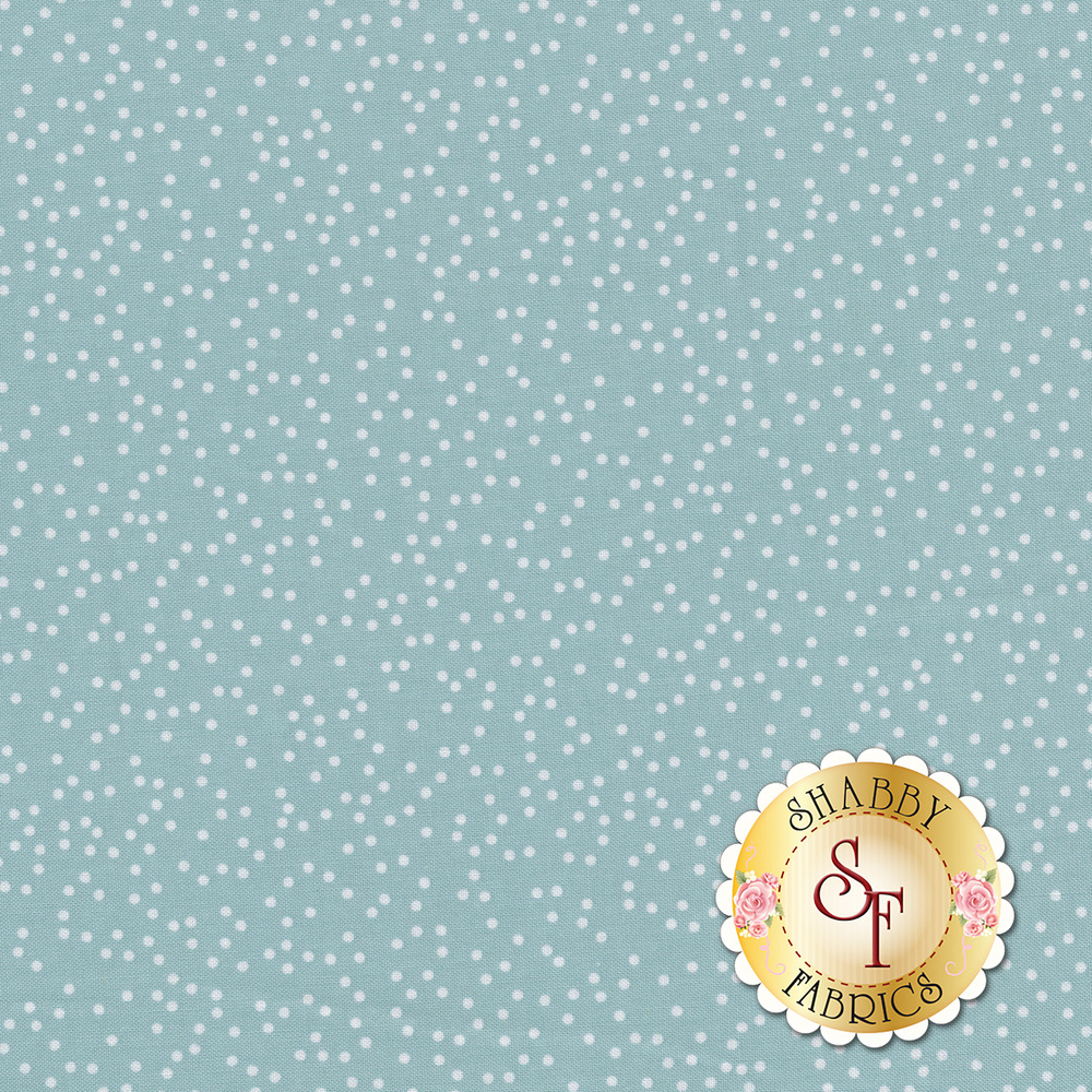 Small white polka dots all over a blue background | Shabby Fabrics