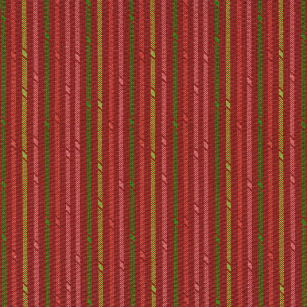 Red and green stripes on a red background | Shabby Fabrics