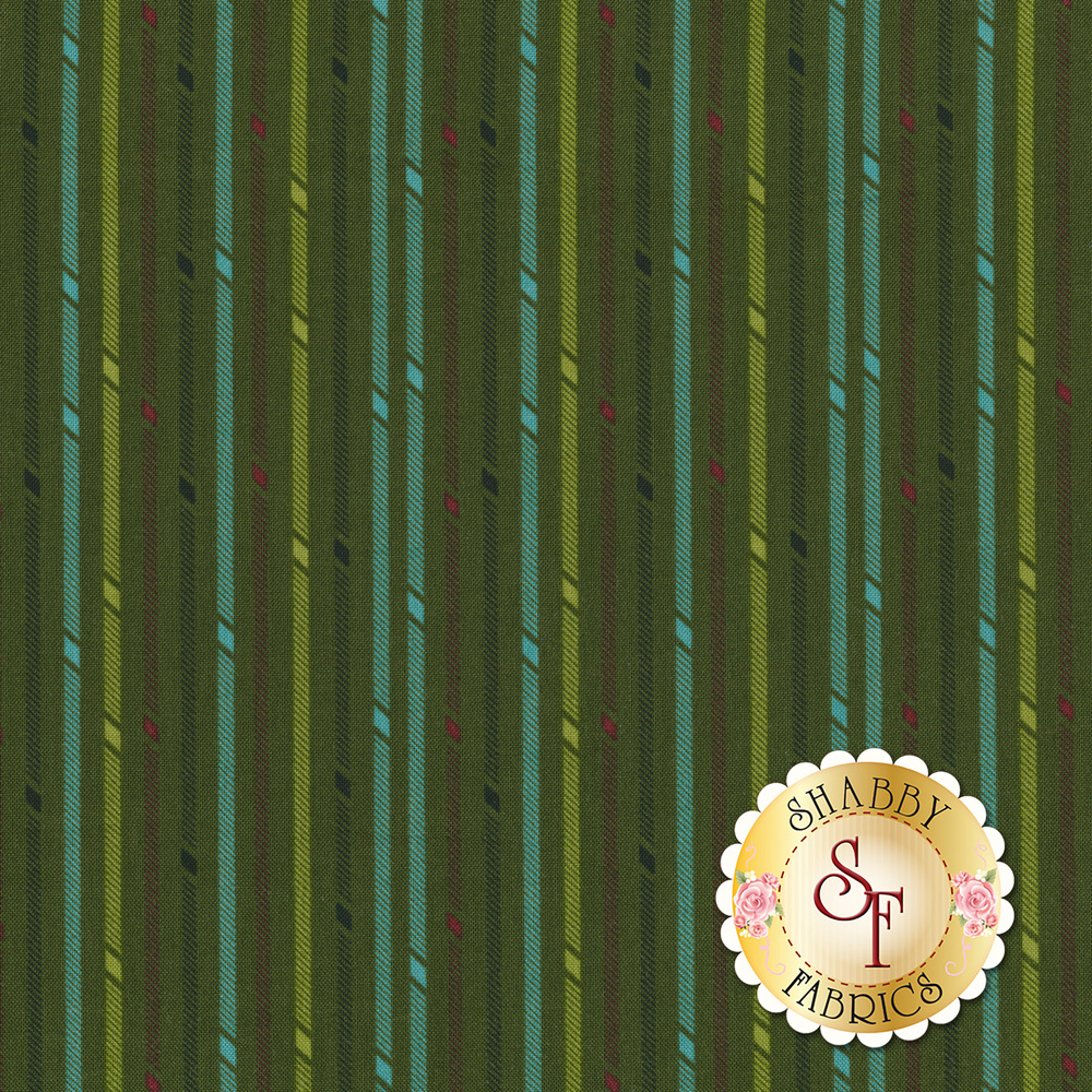 Teal, green, and red stripes on a green background | Shabby Fabrics