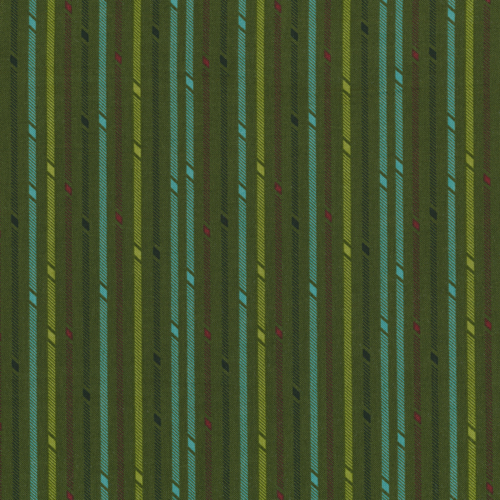 Teal, green, and red stripes on a green background   Shabby Fabrics