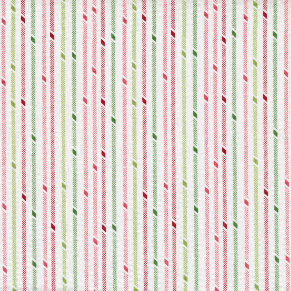Pink, green and red stripes on a white background | Shabby Fabrics
