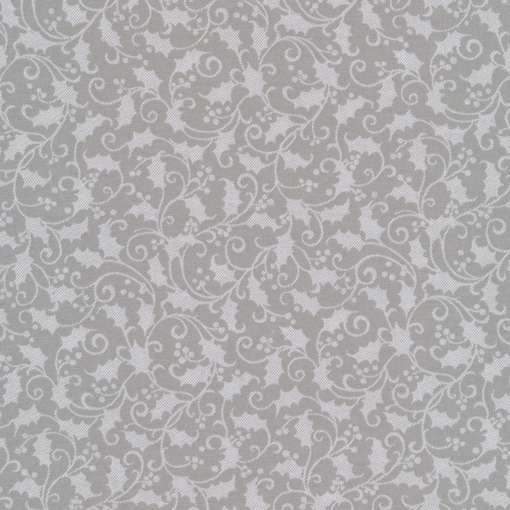 Tonal grey holly and leaves on a dark grey background | Shabby Fabrics