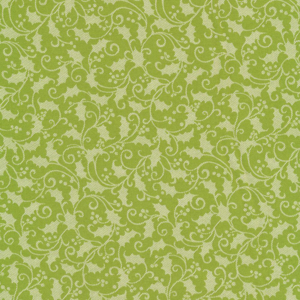 Tonal light green holly and berries on a dark green background | Shabby Fabrics