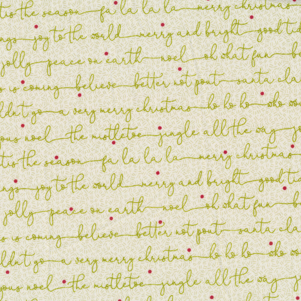 Christmas sayings in cursive on a tan background | Shabby Fabrics