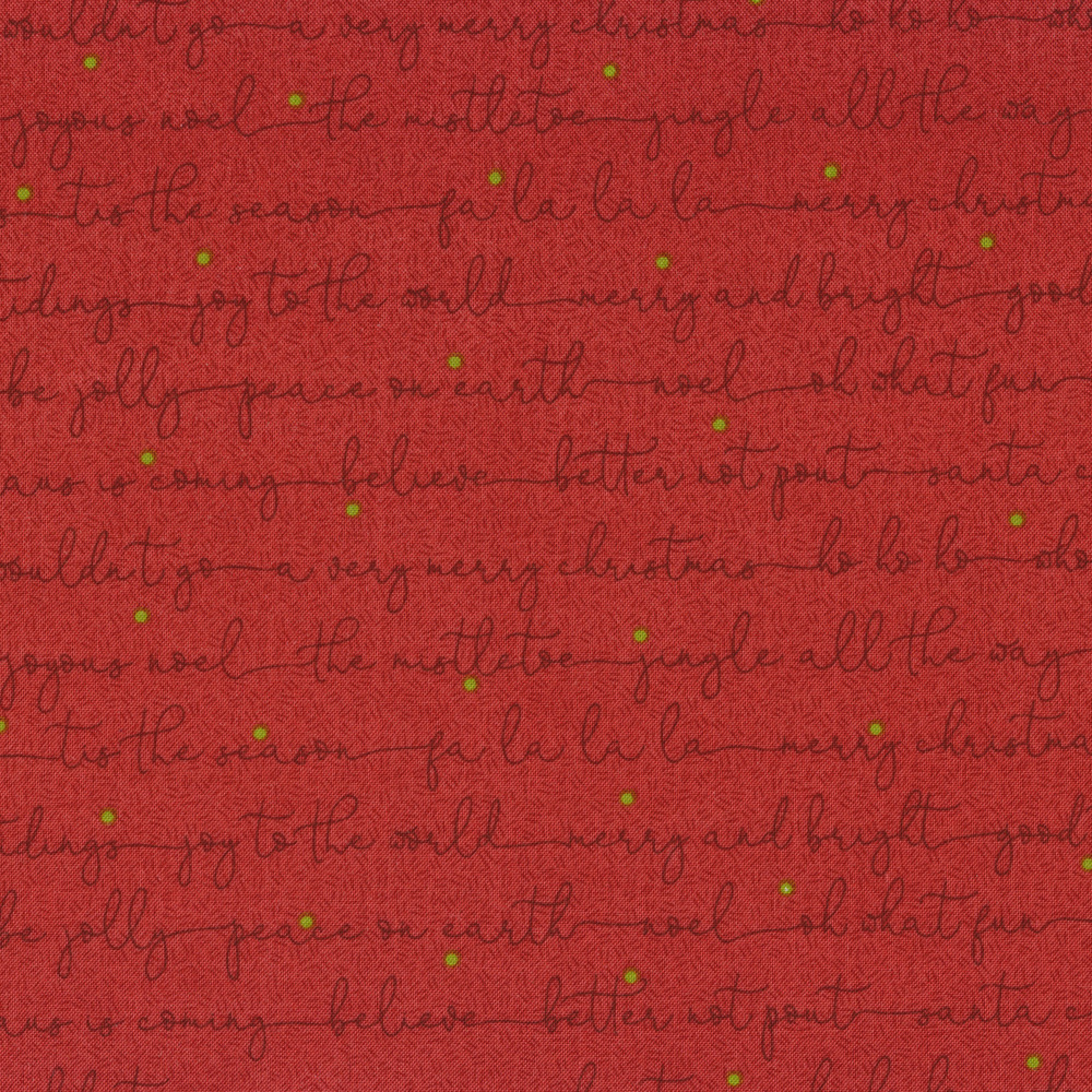 Christmas sayings in cursive on a red background | Shabby Fabrics