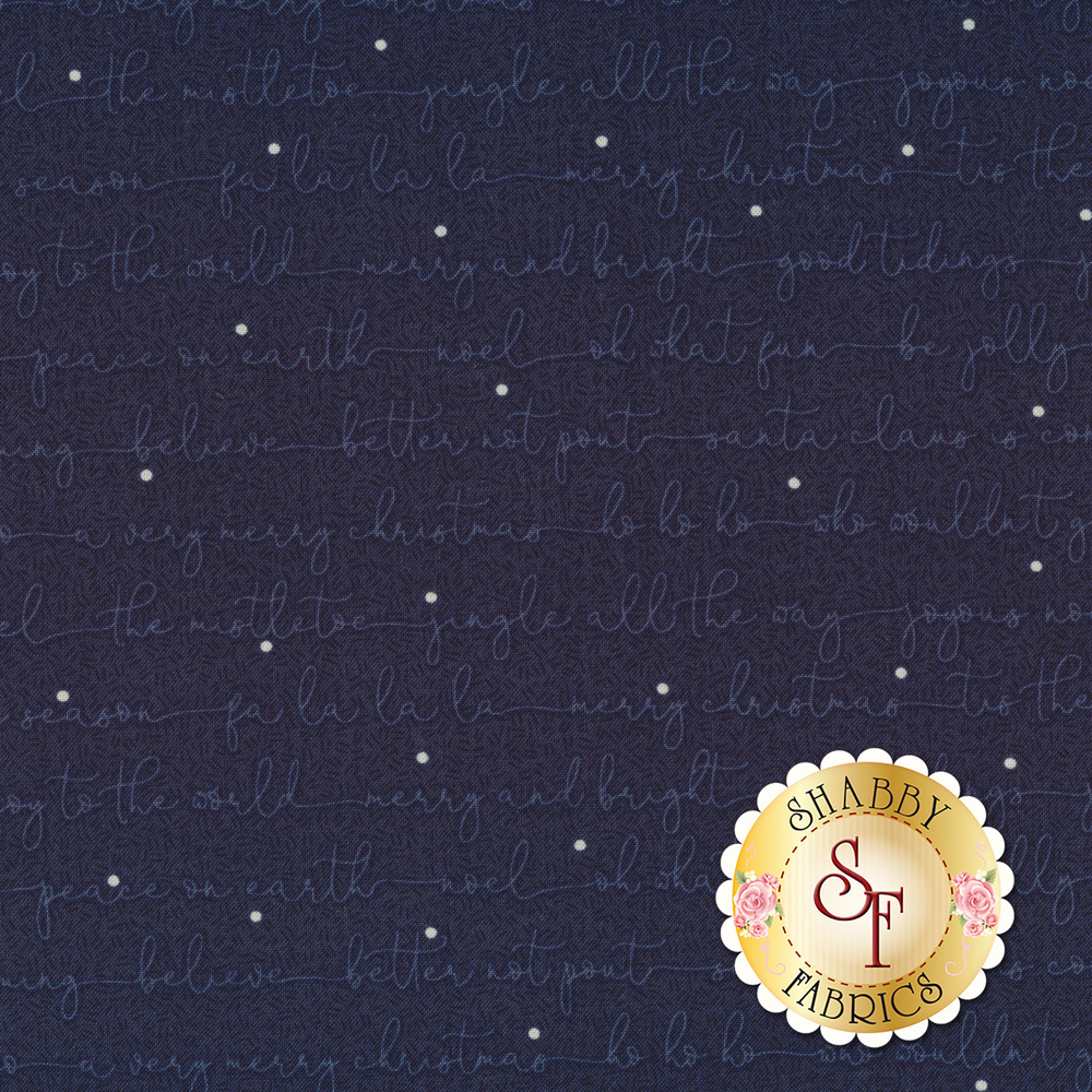 Christmas sayings in cursive on a navy background   Shabby Fabrics