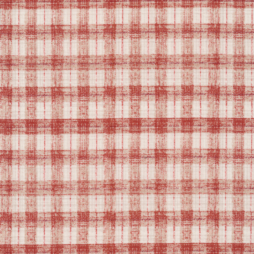 Cream and red check pattern