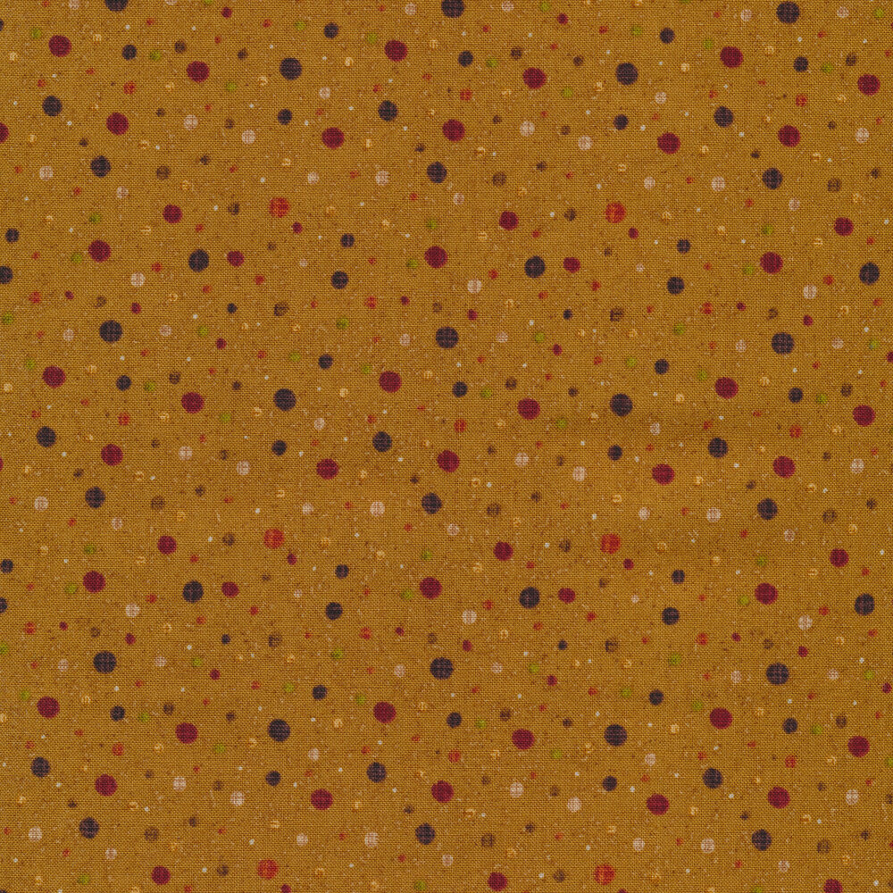 Dots with varying colors and sizes all over a dark mustard yellow background