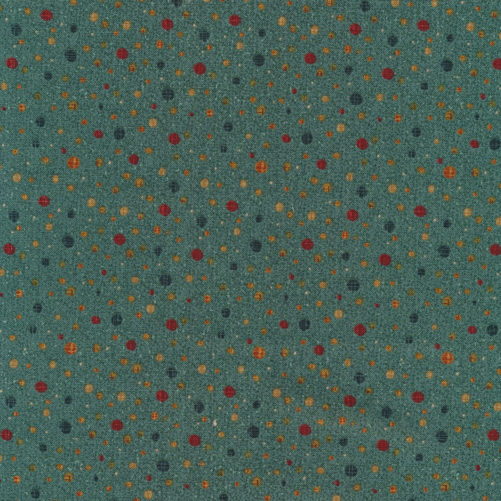 Dots with varying colors and sizes all over a dark teal background