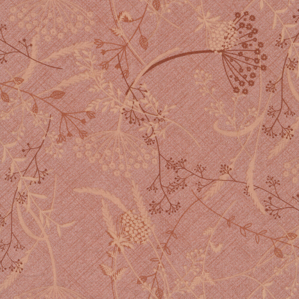 Tossed dandelions and vines all over a light rose textured background