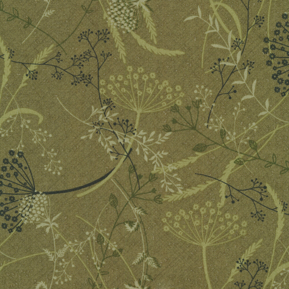 Tossed dandelions and vines all over a green textured background