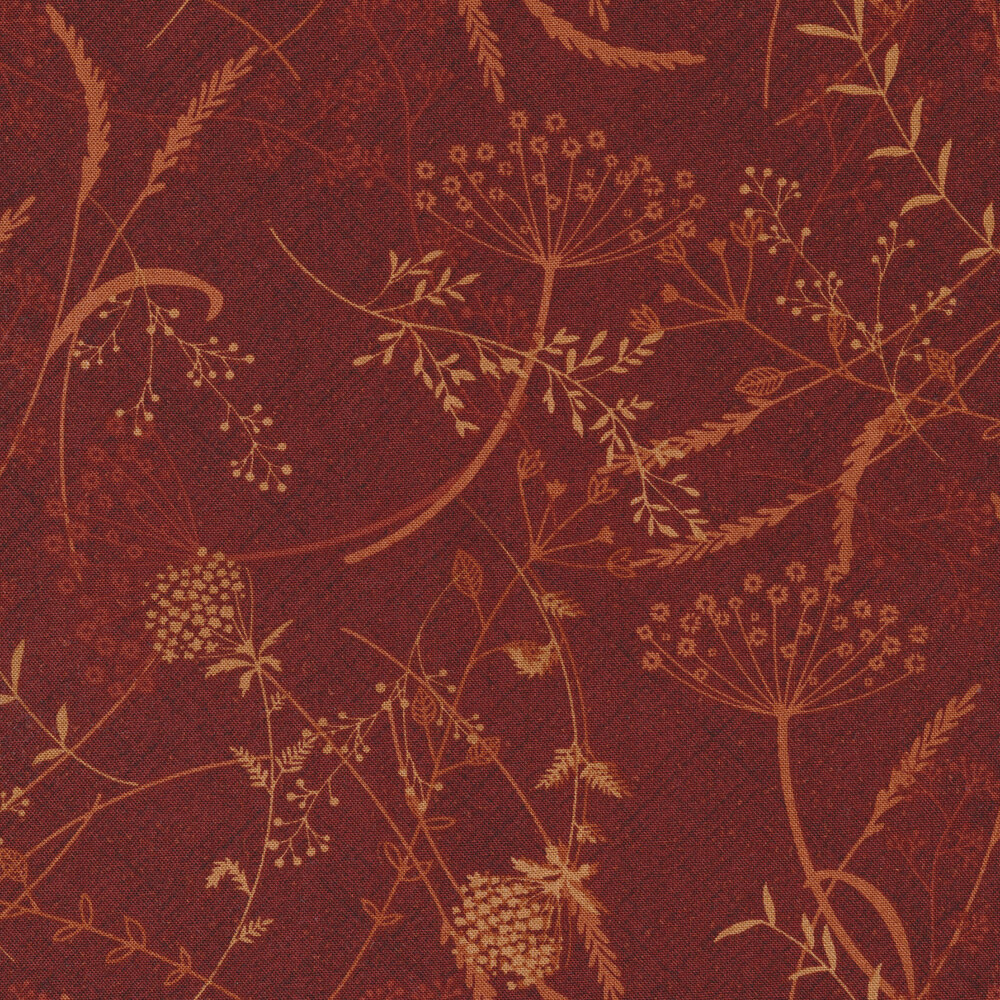 Tossed tan dandelions and vines on a red textured background