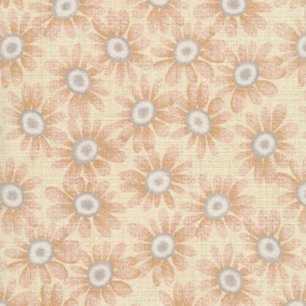 Packed blue and tan sunflowers all over a light cream background