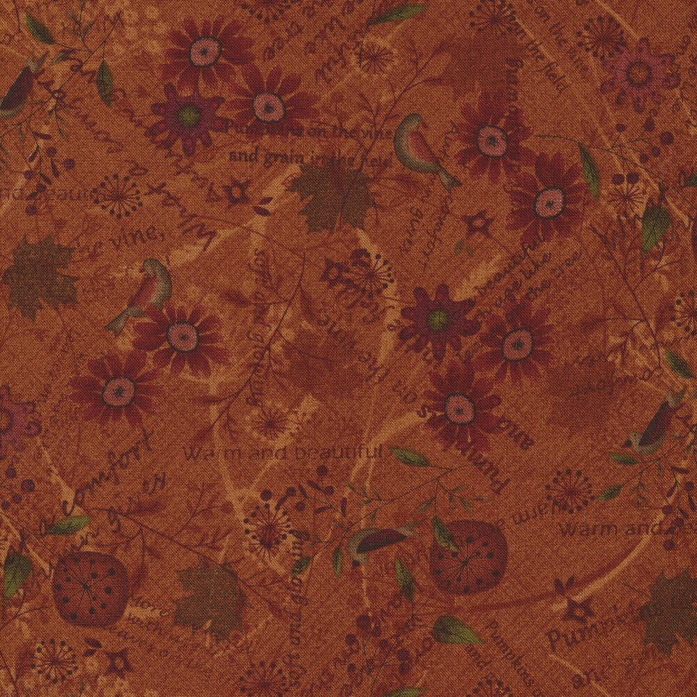 Packed birds, flowers, and autumn time phrases all over a dark pumpkin background