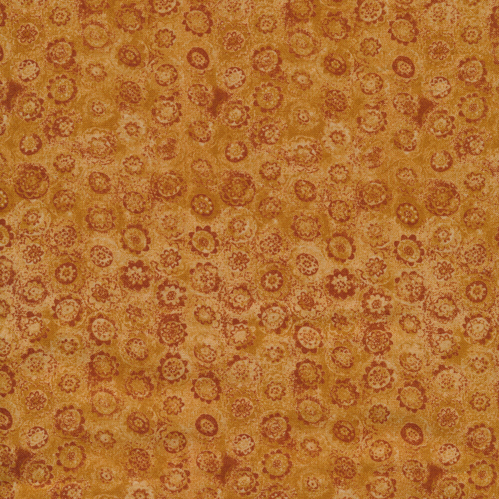 Tonal brown fabric with small circular flowers all over