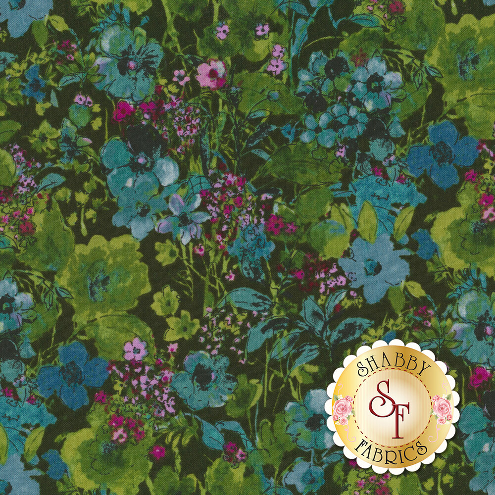 Dark fabric with green and blue flowers with a watercolor look | Shabby Fabrics