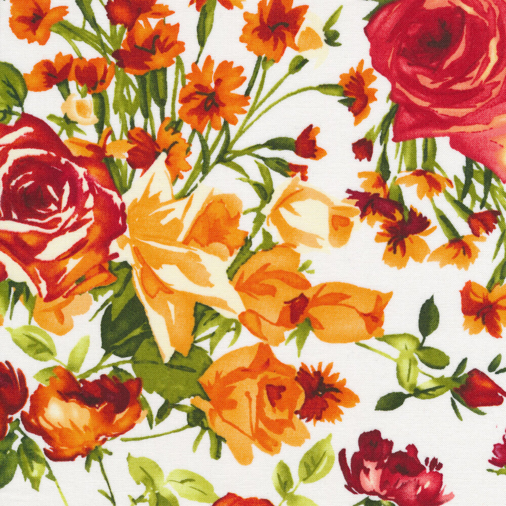 Bright orange flowers with green stems on a white background