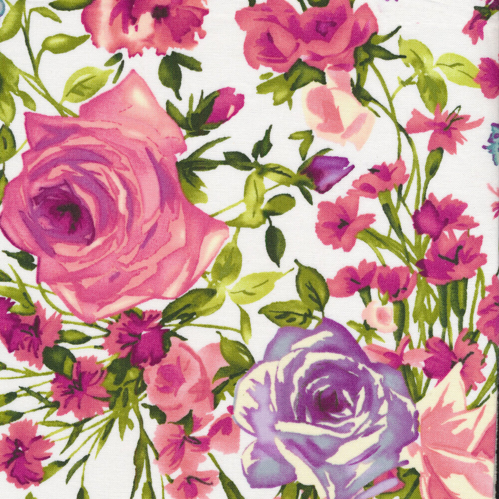 Purple and pink flowers with green stems on a white background